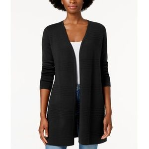 CHARTER CLUB Petite Textured Open Front Cardigan